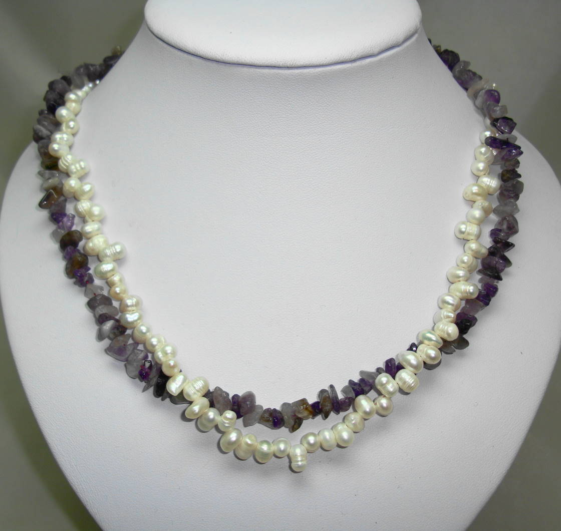 £37.00 - Beautiful Real Amethyst Bead and Freshwater Pearl Bead Twist Necklace