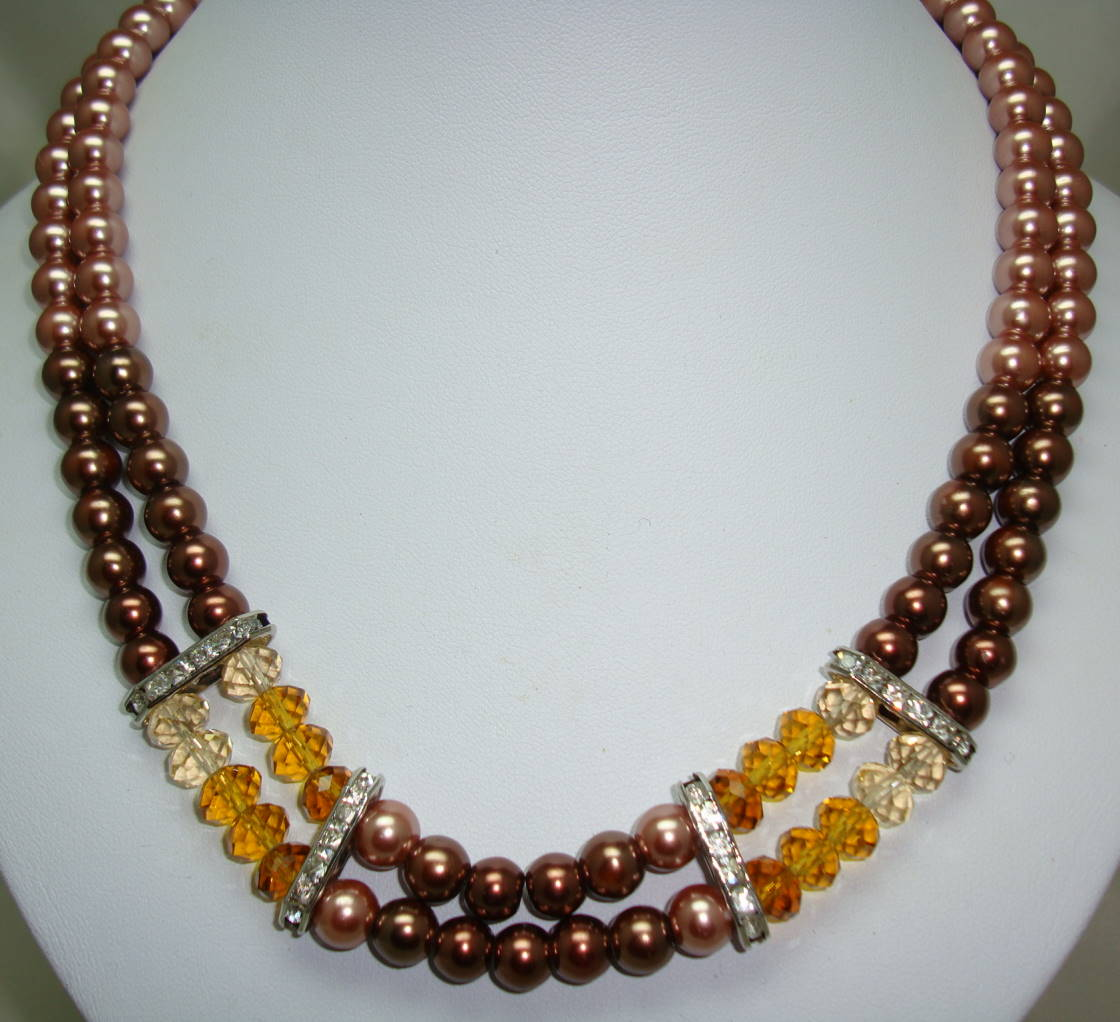 Two Row Brown Glass Pearl and Crystal Bead Necklace with Diamantes