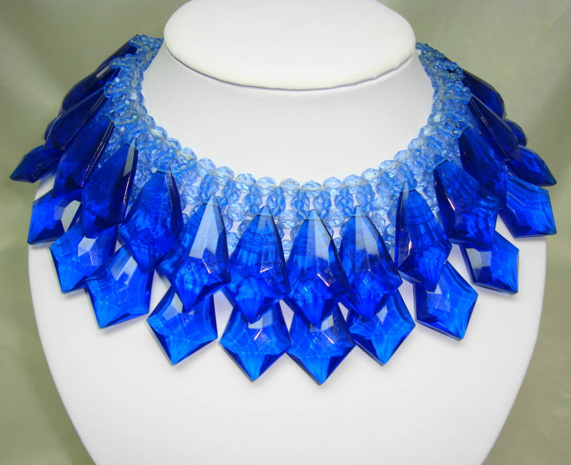 Vintage 60s Spectacular Cobolt Blue Lucite Drop Wide Collar Necklace