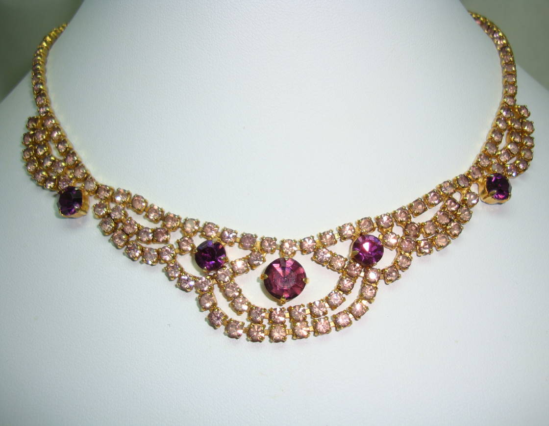 £40.00 - Vintage 50s Pretty Pink and Purple Diamante Swag Drop Cascade Necklace