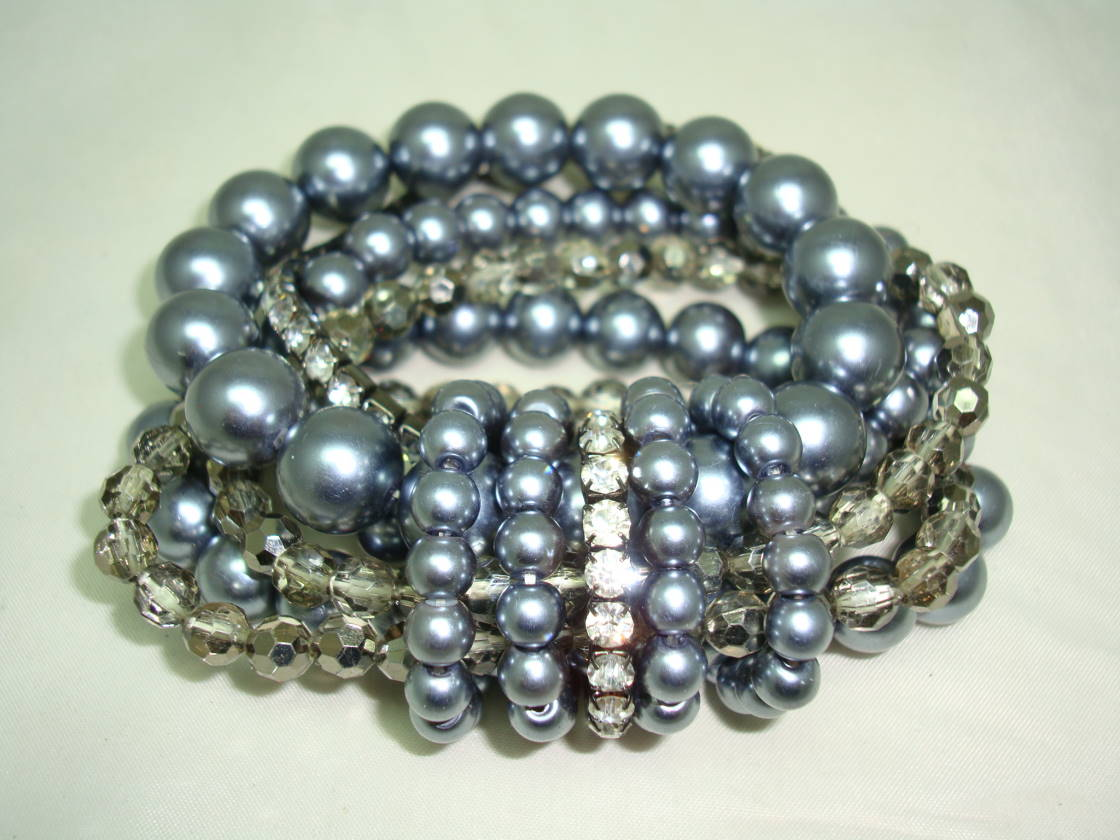 Fab Wide 6 Row Grey Glass Faux Pearl Bead and Diamante Stretch Bracelet