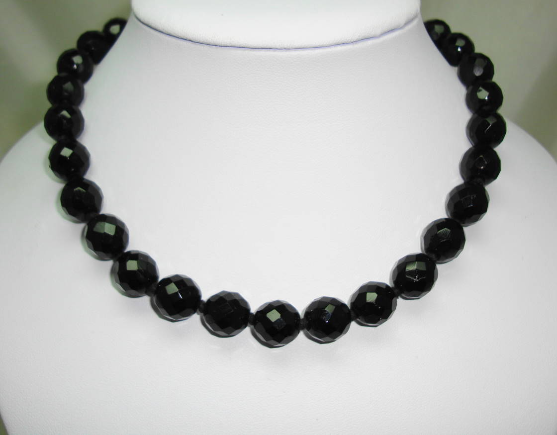 Vintage 50s Quality Black Faceted Crystal Glass Hand Knotted Bead Necklace