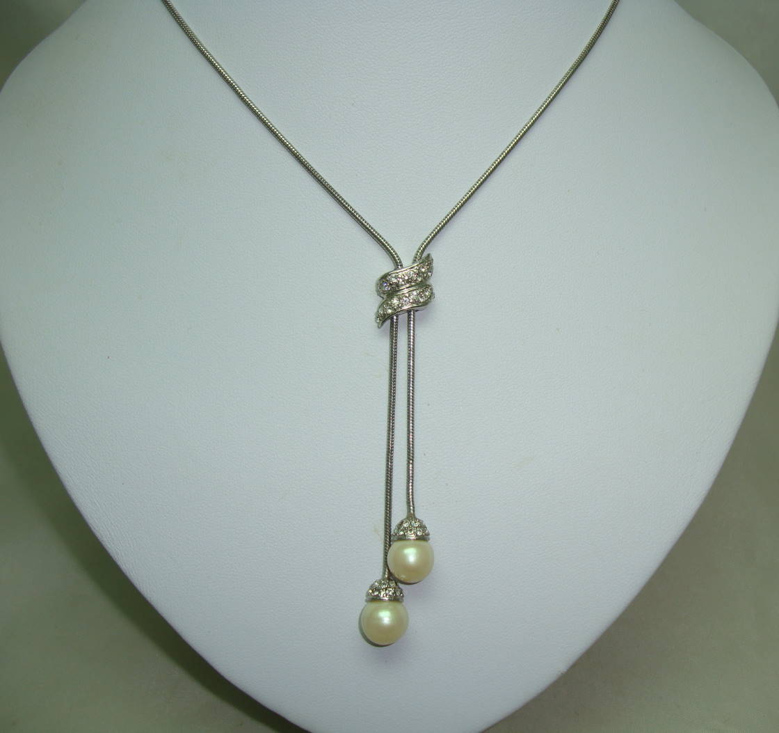 £42.00 - Vintage 80s Quality Lariat Style Slider Diamante & Faux Pearl Drop Necklace