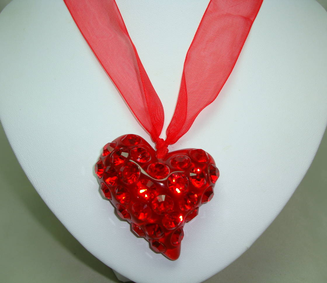 £25.00 - Large Red Acrylic Heart Sparkling Crystal Glass Pendant on Ribbon Tie
