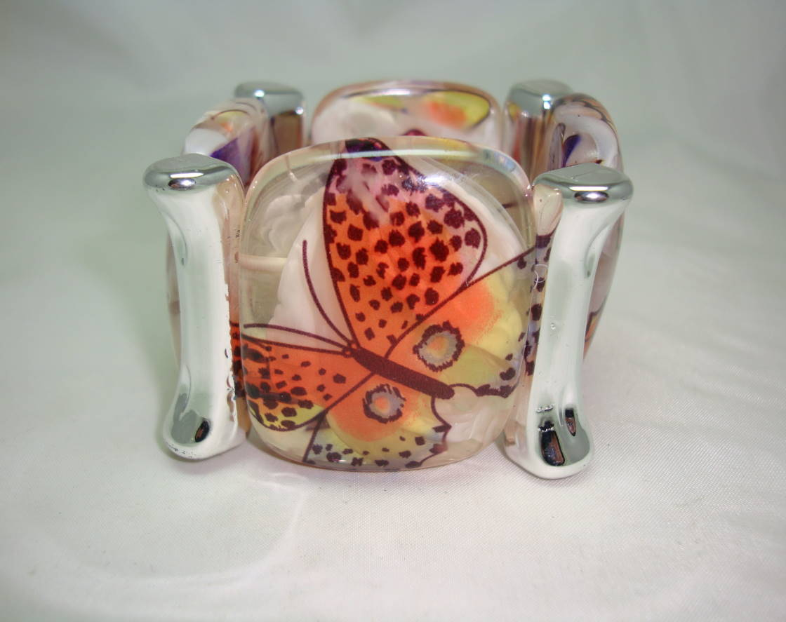 Wide Chunky Multicoloured Butterfly Print Acrylic Cuff Stretch Bracelet