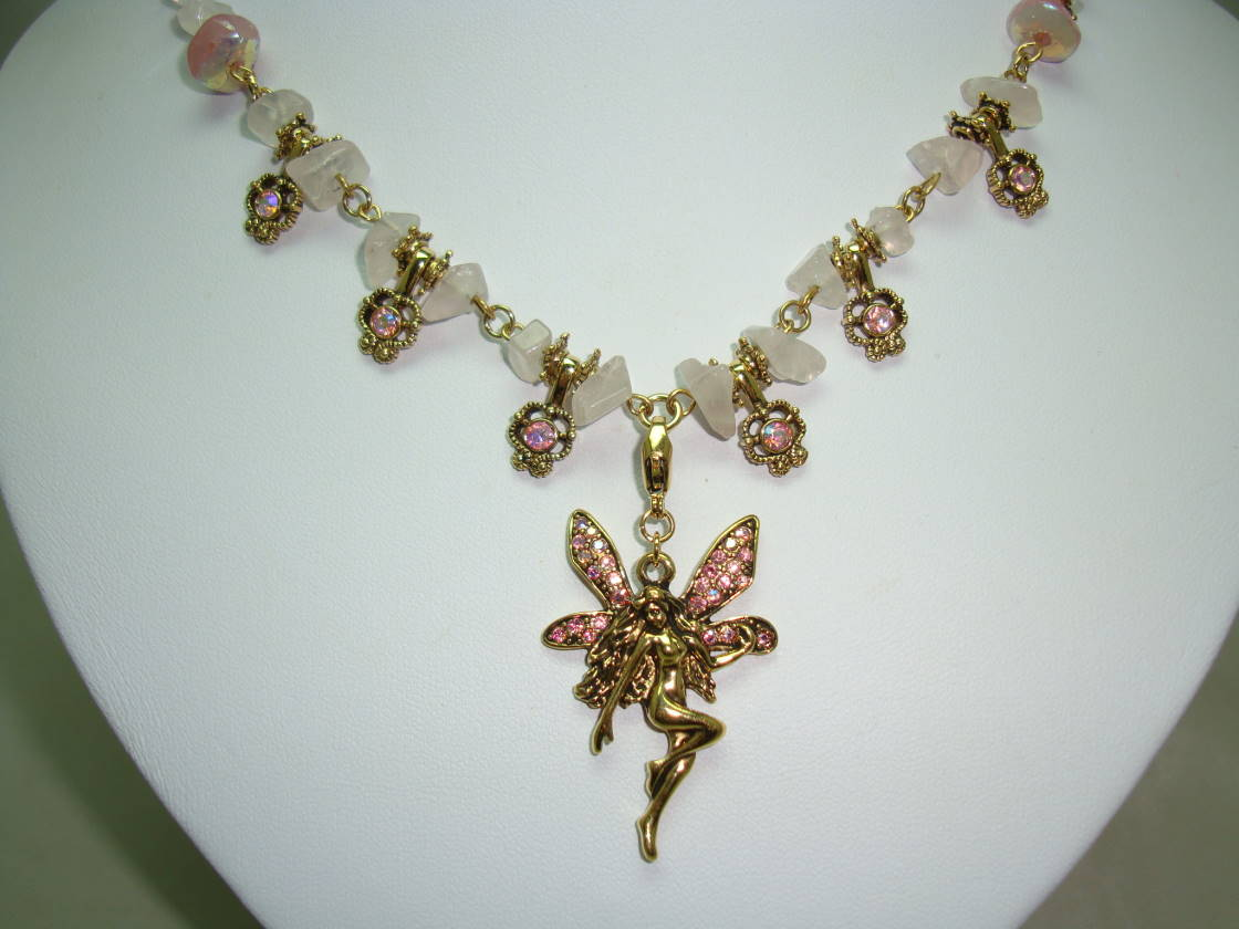 £45.00 - Signed Kirks Folly Pink Quartz & AB Diamante Dangle Angel Gold Necklace