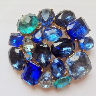 Vintage 50s Sparkling Blue Diamante Statement Brooch Fabulous!