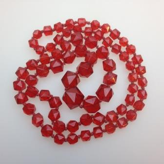 Vintage 30s Long Red Crystal Glass Bead Necklace Stunning Quality!
