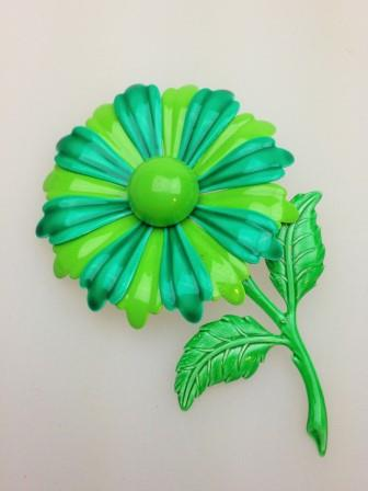 Vintage 60s Large Green Metal Enamel Flower Brooch