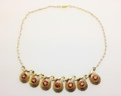 £24.00 - Vintage 50s Goldtone Amber Diamante Drop Necklace Stunning!