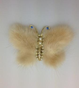 Vintage 40s Pretty Real Mink Butterfly Brooch with Faux Pearls and Diamante