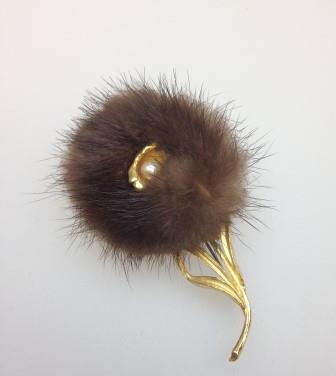 £23.00 - Vintage 50s Real Brown Mink Goldtone Stylised Flower Brooch Stunning!