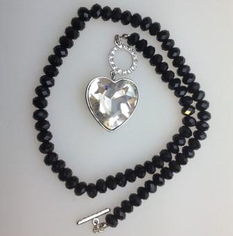 Amazing Black Glass Bead Necklac with Large Crystal Glass Heart Pendant