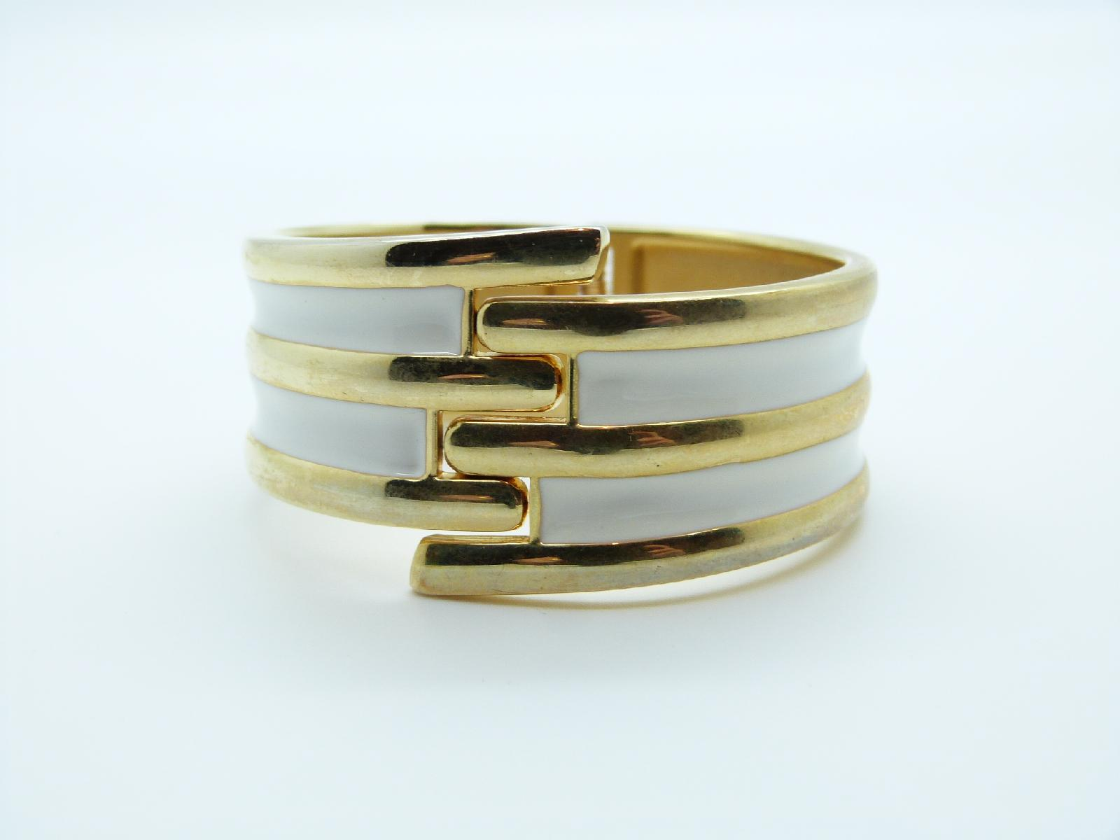 Vintage 50s Wide Cream Enamel Goldtone Clamper Cuff Hinged Bangle Bracelet