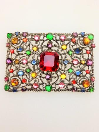 Fab Vintage 30s Czech Goldtone Filigree Multicoloured Diamante Brooch