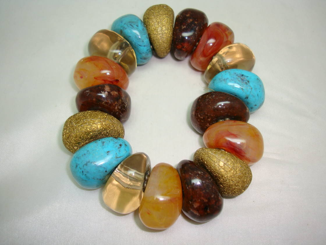 £12.00 - Fab Chunky Multicoloured Bead Stretch Bracelet Tuquoise Amber Brown