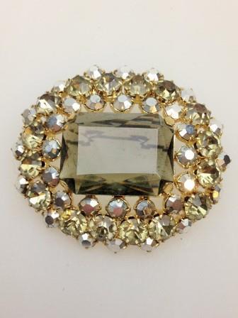 Vintage 50s Stunning Large Green Diamante Goldtone Brooch 5cms