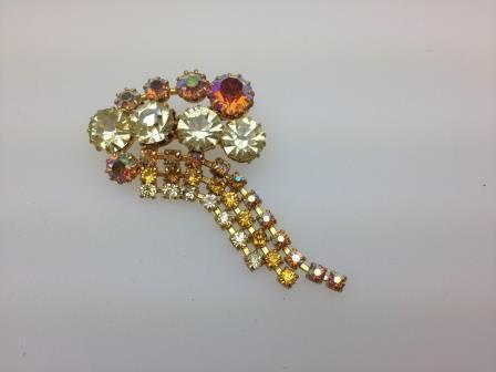 Vintage 50s Lemon Amber AB Diamante Dangle Goldtone Brooch 6.5cms