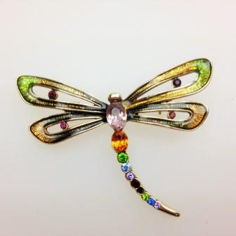 £22.00 - Vintage 90s Signed Monet Colourful Enamel and Diamante Dragonfly Brooch