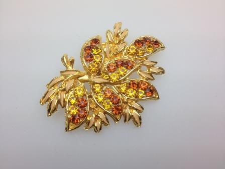 Vintage 50s Quality Goldtone Amber Tones Diamante Floral Design Brooch 7cms