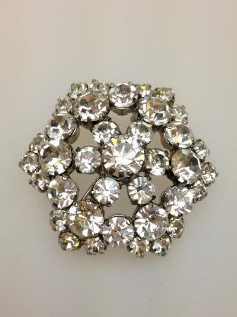 Vintage 50s Sparkling Claw Set Diamante Flower Shaped Brooch 3.5cms