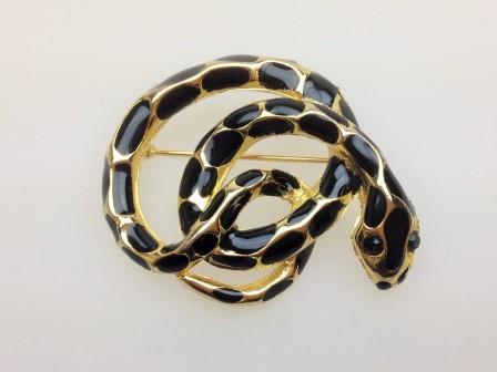 £10.00 - Vintage 80s Black Enamel Goldtone Snake Figural Brooch Quality 4.5cms