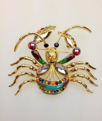 Vintage 80s BIG Enamel and Diamante Colourful Figural Crab Brooch Amazing!
