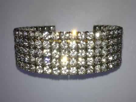 Vintage 50s Sparkling Five Row Diamante Flexible Silvertone Cuff Bangle Bracelet