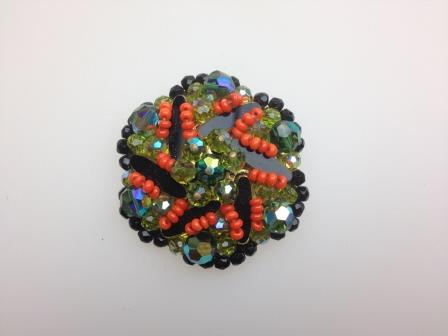 Vintage 60s Quality Black AB Crystal and Orange Glass Flower Brooch Amazing 5cms