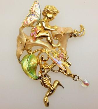 £40.00 - Signed Kirks Folly Moonflower Fairy Enamel and Crystal Pendant Brooch