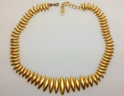 Vintage 50s Quality Goldtone Articulated Fancy Link Collar Necklace 46cms