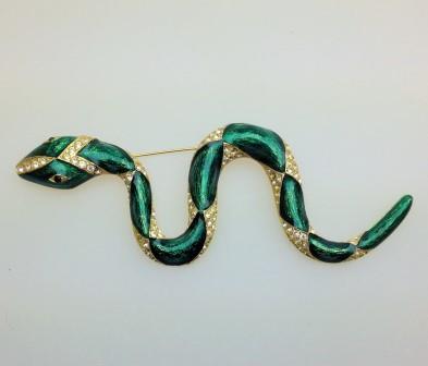 Vintage 80s Signed Sardi Green Enamel and Diamante Goldtone Snake Brooch