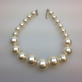 Vintage 50s Style Chunky Faux Pearl Graduated Necklace Amazing 112cms