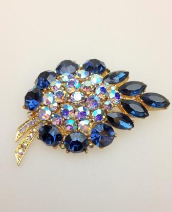 £45.00 - Vintage 50s Quality Huge Blue AB Diamante Goldtone Statement Brooch 8cms