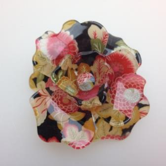 Fab Huge 3D Acrylic Plastic Black Cread Cream Flower Printed Brooch 8cms