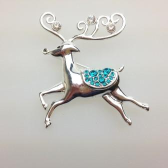 Fab Signed Liz Claiborne Silvertone and Green Diamante Reindeer Brooch 5cms