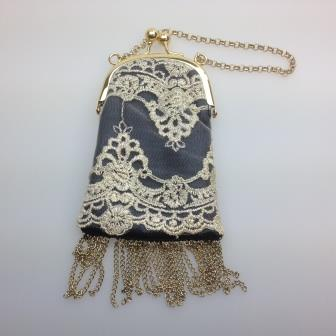 £12.00 - Fab Yumi Grey Net Gold Lace Fringe Tassel Evening Handbag Gold Chain Handle