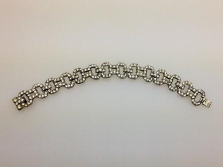 £30.00 - Vintage 30s Art Deco Sparkling Paste Diamante Fancy Link Bracelet