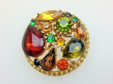Vintage 50s Signed Sphinx Red and Amber Glass Diamante Domed Gold Brooch