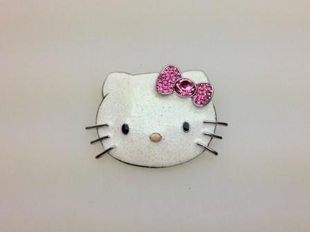 Vintage Signed Sanrio Hello Kitty Pink Rhinestone Glitter Enamel Brooch