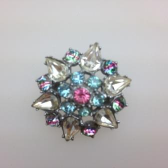 Vintage 50s Blue Pink and Clear Diamante Paste Flower Shaped Brooch 3cms
