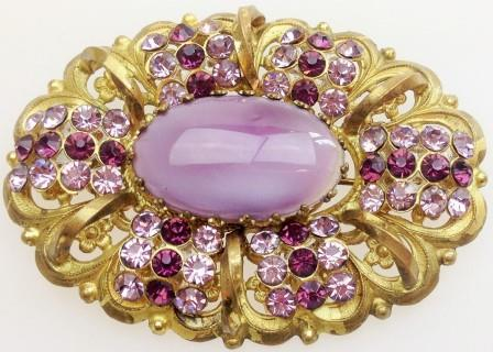 £38.00 - Vintage 30s Large Czech Filigree Purple Pink Diamante Oval Gold Brooch 7cm