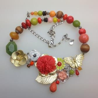 Designer Signed Bohm Colourful Flower and Butterfly Statement Necklace 62cm