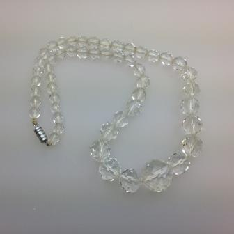 Vintage 30s Pretty Crystal Faceted Glass Bead Necklace Quality 44cms