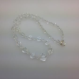 Vintage 50s Quality Crystal Glass Faceted Bead Necklace Stunning 53cms
