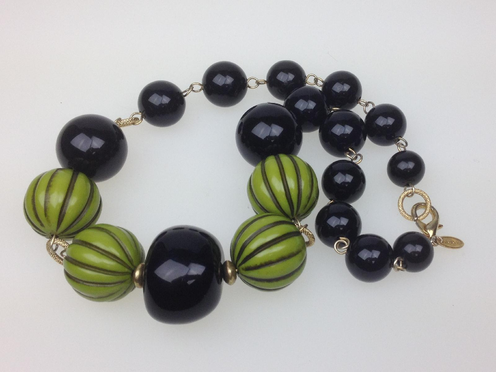 Stunning Signed Jaeger Chunky Black and Green Striped Bead Necklace