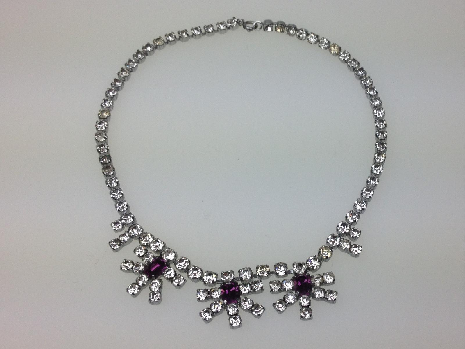£32.00 - Vintage 50s Sparkling Flower Drop Amethyst and Clear Diamante Paste Necklace
