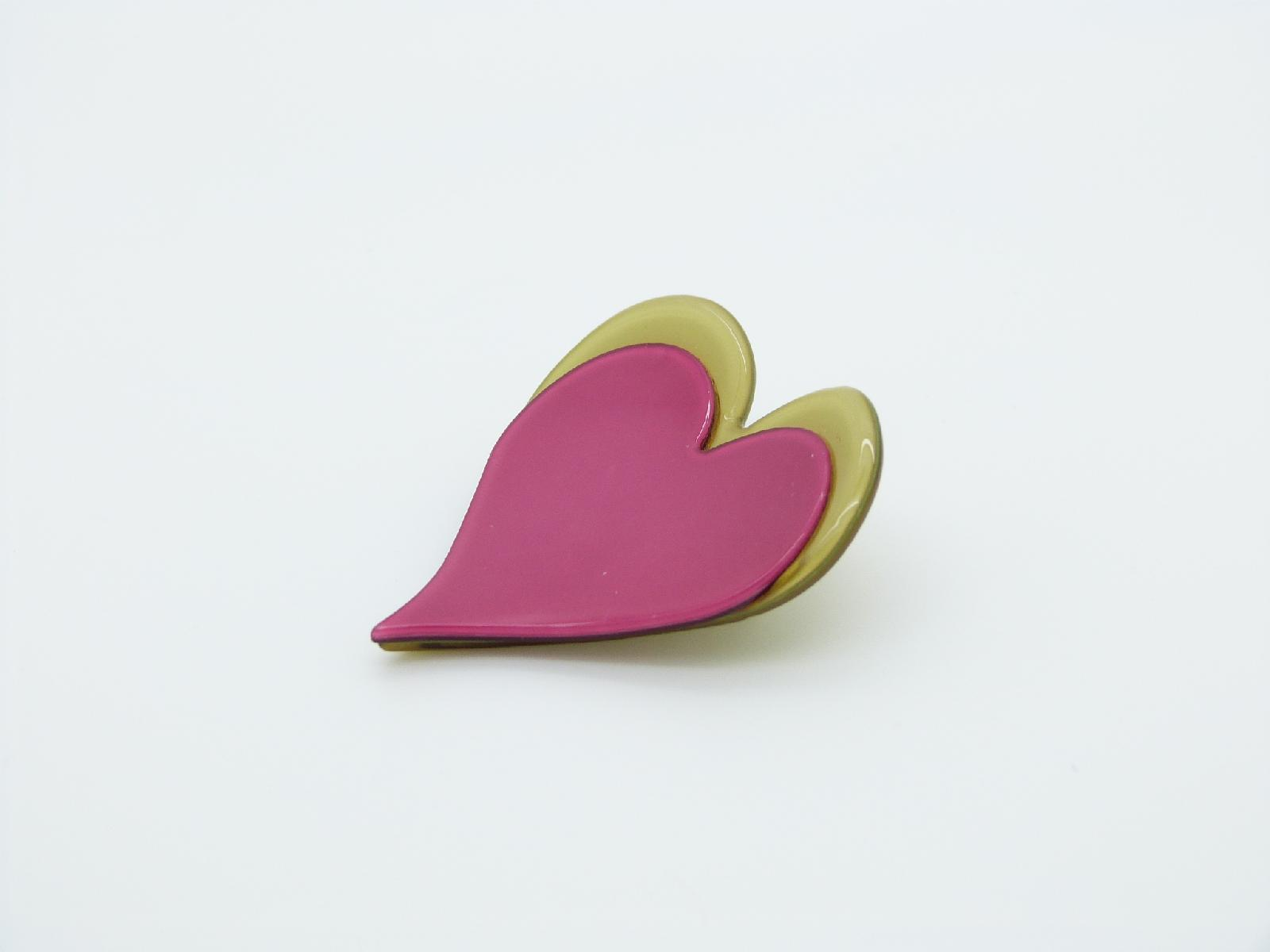 £8.00 - Quirky and Fun Pink and Green Double Heart Style Acrylic Brooch Pretty