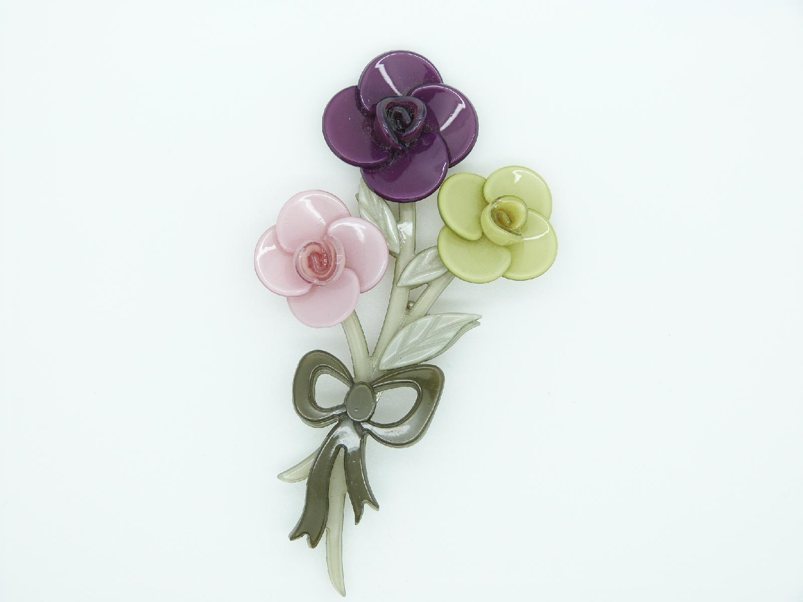 £13.00 - Fabulous Big Baby Posey Of Roses Brooch Pink Purple and Green Flowers
