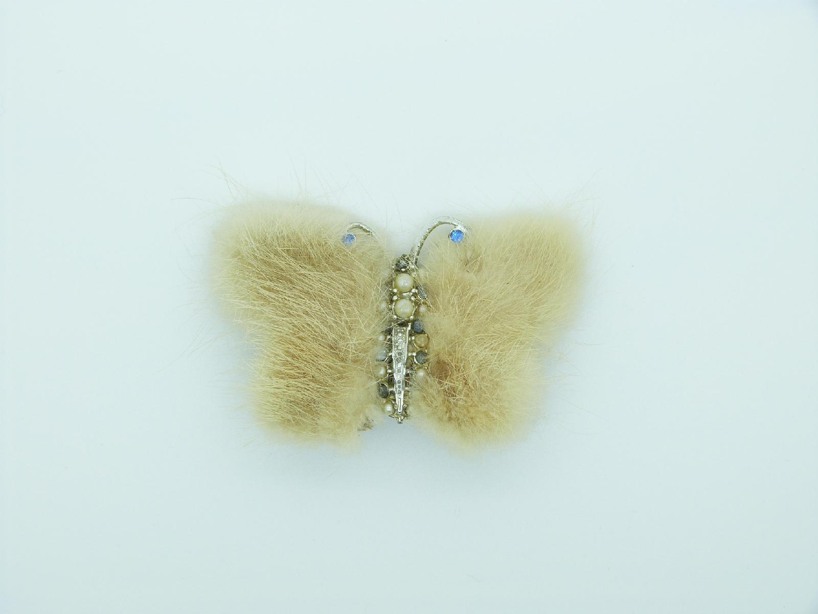 Vintage 40s Real Blonde Mink Butterfly Brooch Faux Pearls and Diamante